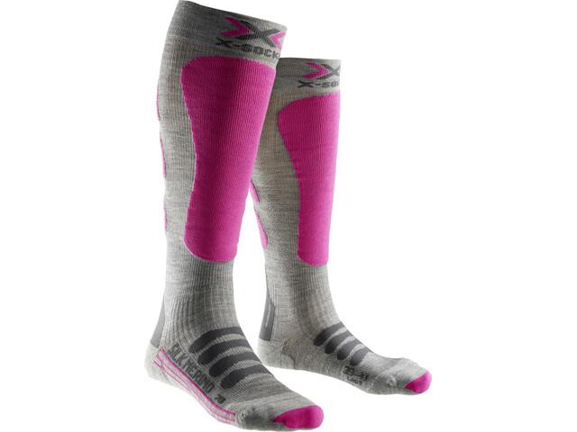 X-Bionic Silk Merino Calcetines Mujer, grey/fuchsia
